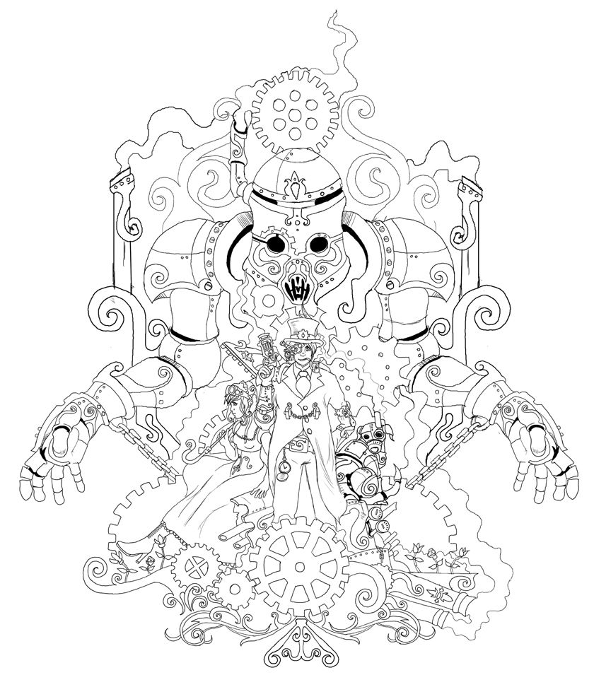 840x955 Obsession Steampunk Gears Coloring Pages Googl
