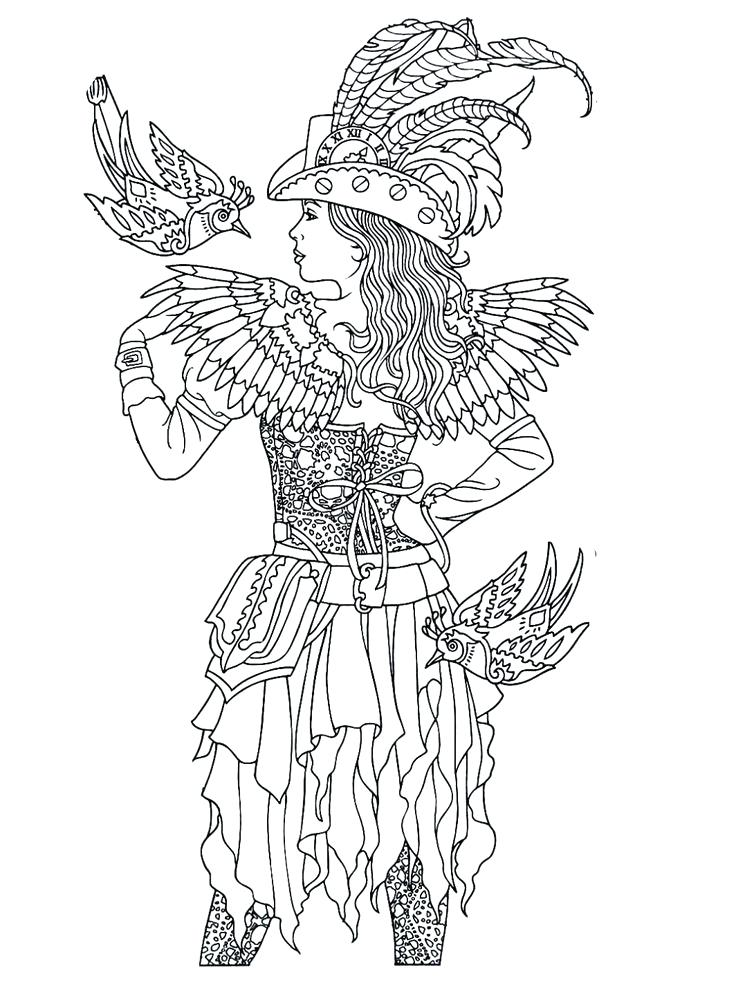 736x983 Steampunk Coloring Book Pages Creative Haven Steampunk Fashions