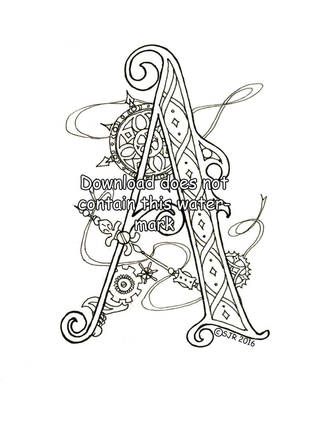 1102x1500 Steampunk Coloring Page Letter A Ink Illustrations, Hand Drawn