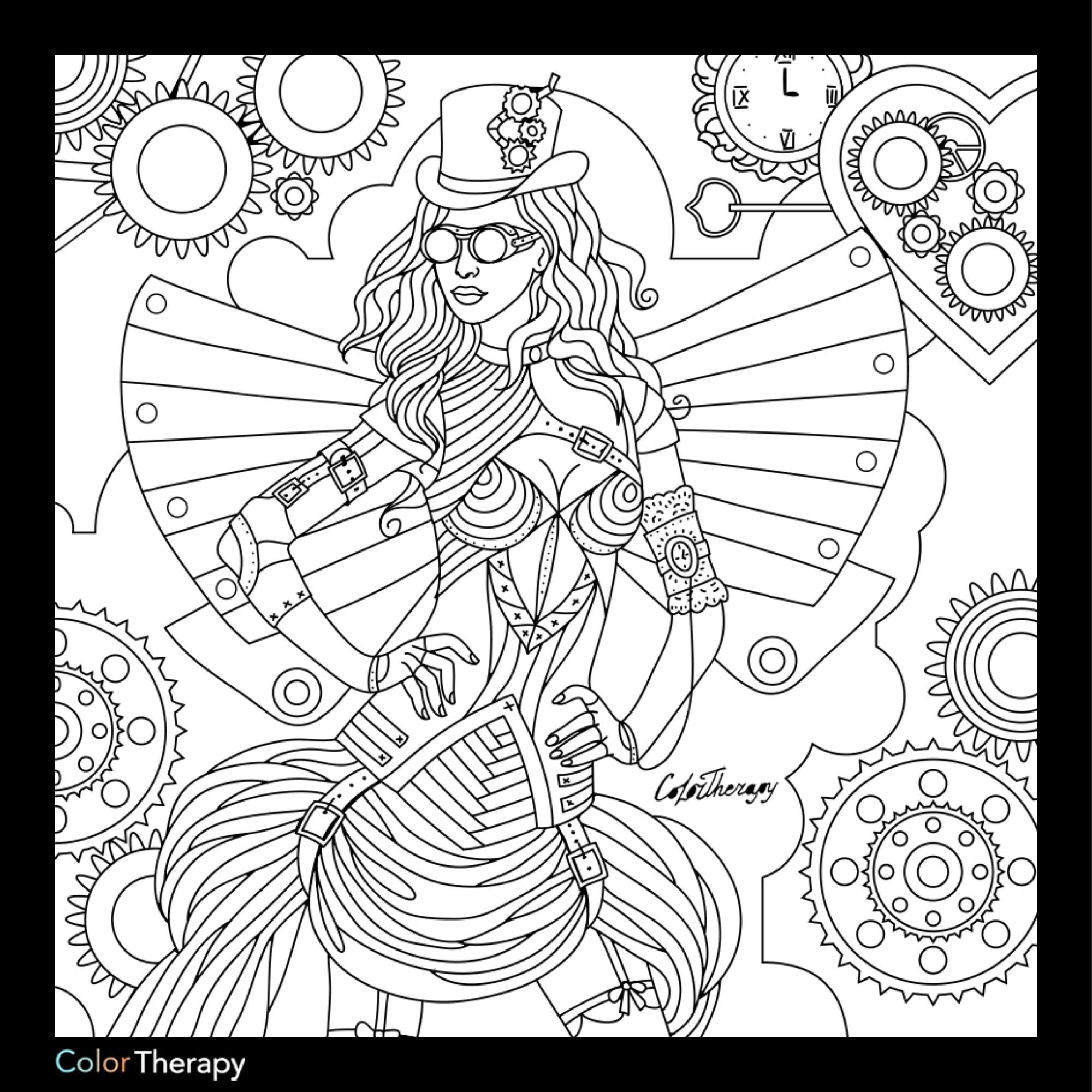 2000x2000 Steampunk Coloring Page Steampunk Coloring Pages For Adults