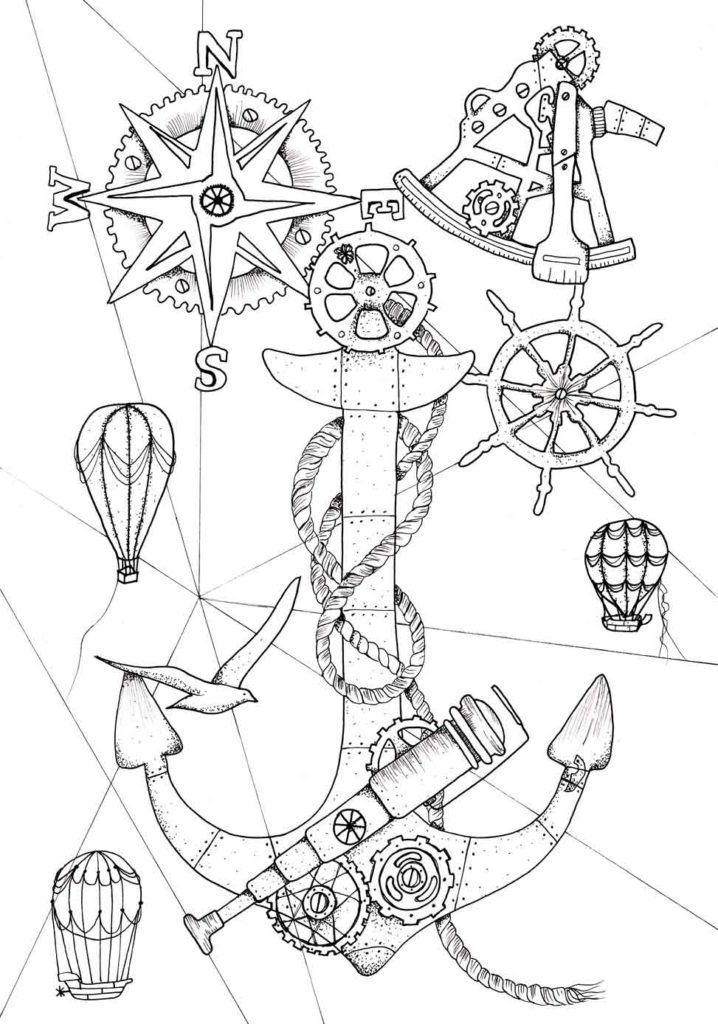 718x1024 Steampunk Coloring Pages