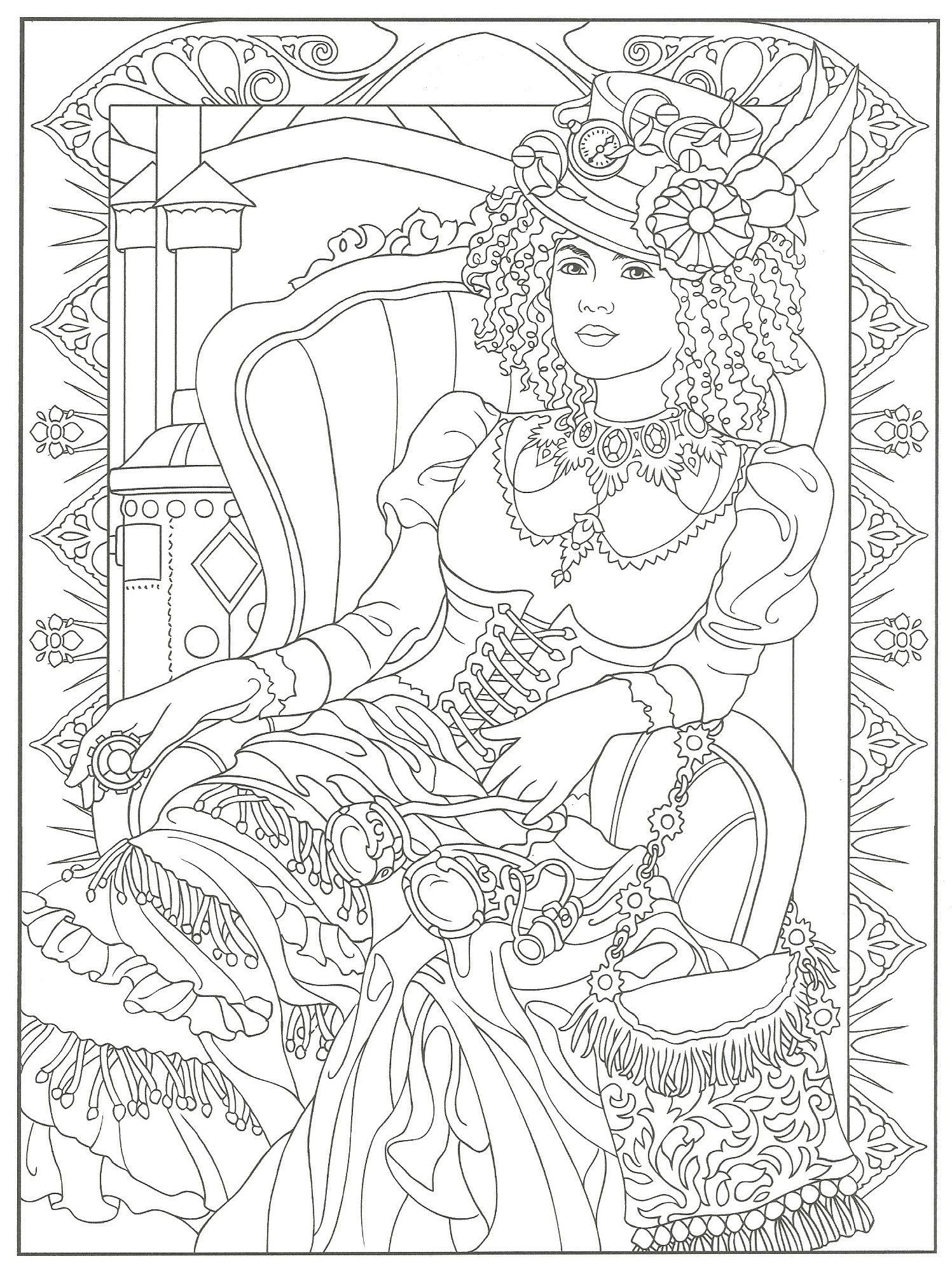 1497x2001 Challenge Dover Sampler Coloring Pages Steampu