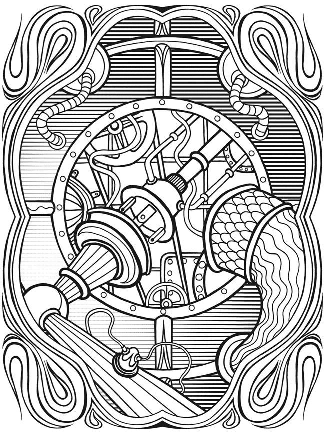 650x863 Excellent Ideas Steampunk Coloring Book Pages For Adults To Dover
