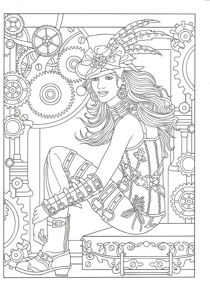 736x1013 Best Steampunk Coloring Pages Images On Coloring