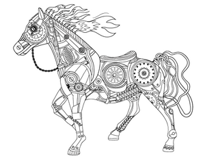 300x232 New Adult Coloring Pages Steampunk Horse, Sun And Moon, And More