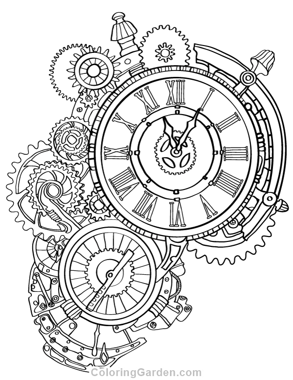 600x776 Steampunk Clock Adult Coloring Page