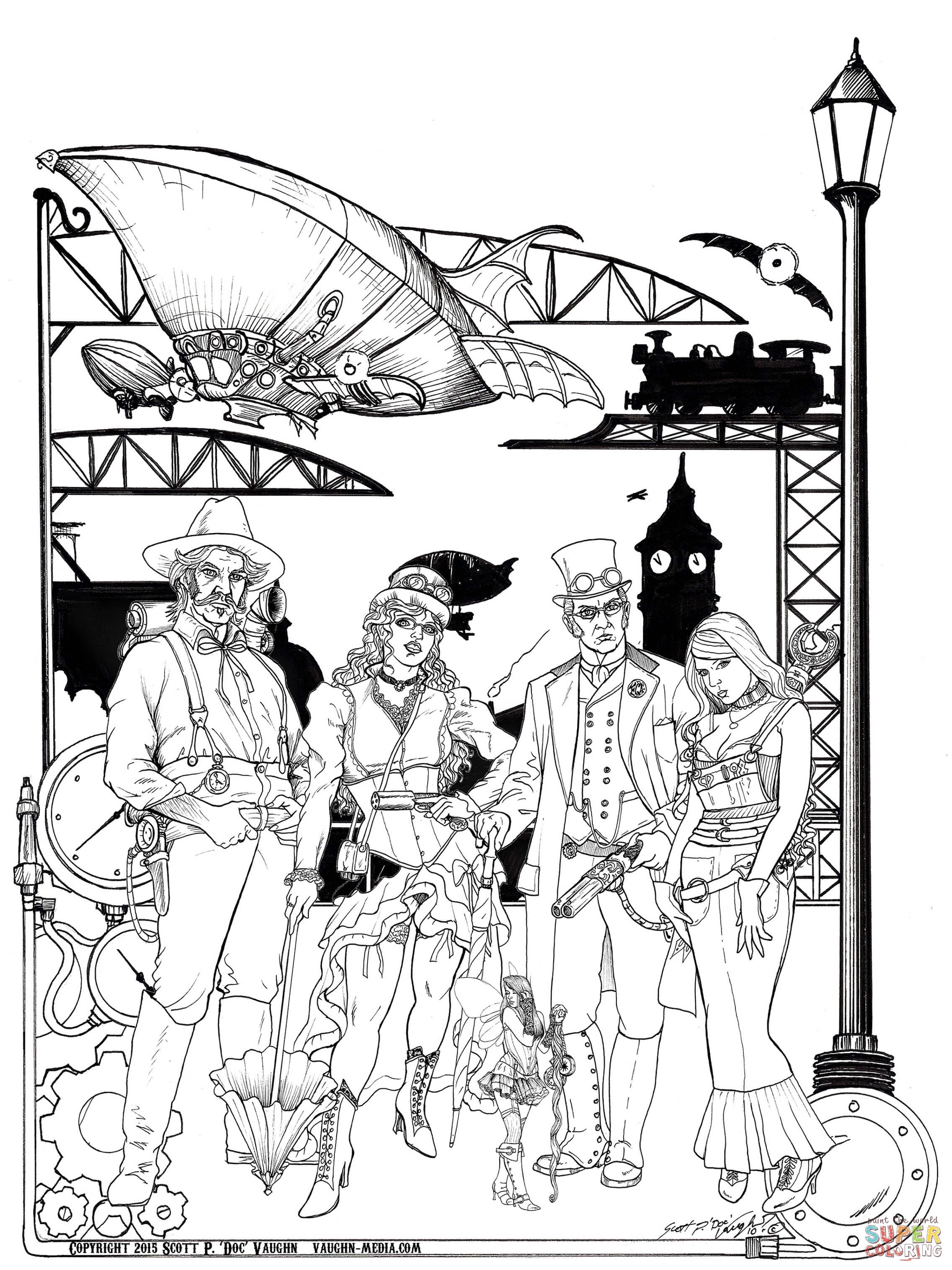 2273x3030 Steampunk Coloring Pages Free Pleasing