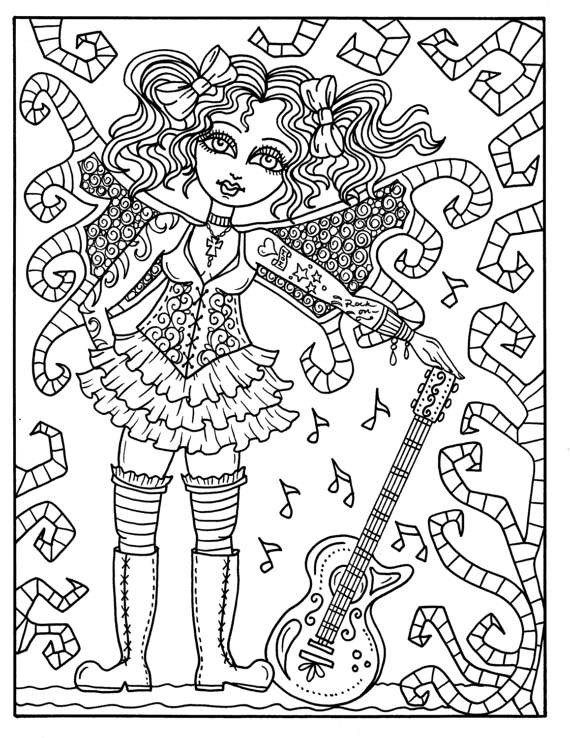 570x738 Steampunk Fairyland Coloring Book Adult Coloring Pages Fantasy