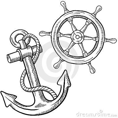 400x400 Ship Steering Wheel And Anchor Stock Images