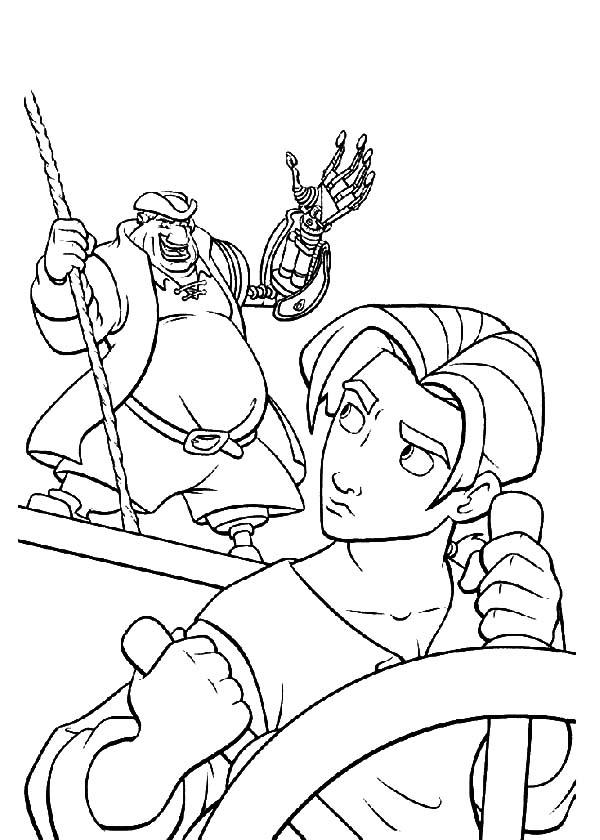 600x840 Treasure Planet John Command Jim To Hold Steering Wheel Coloring