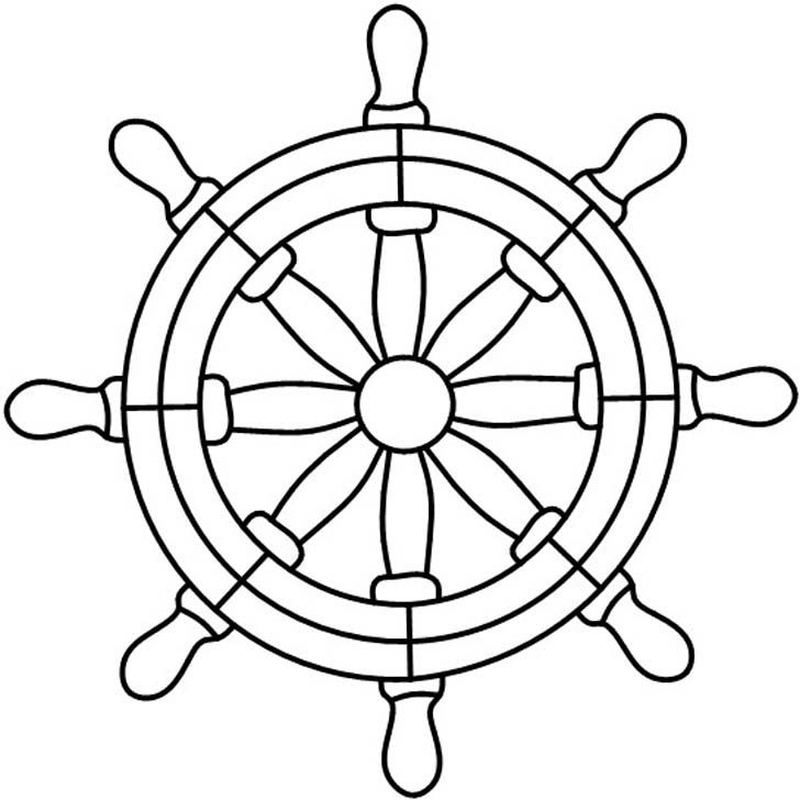 728x728 Ship Wheel Coloring Page Boat Steering Wheel Black And White