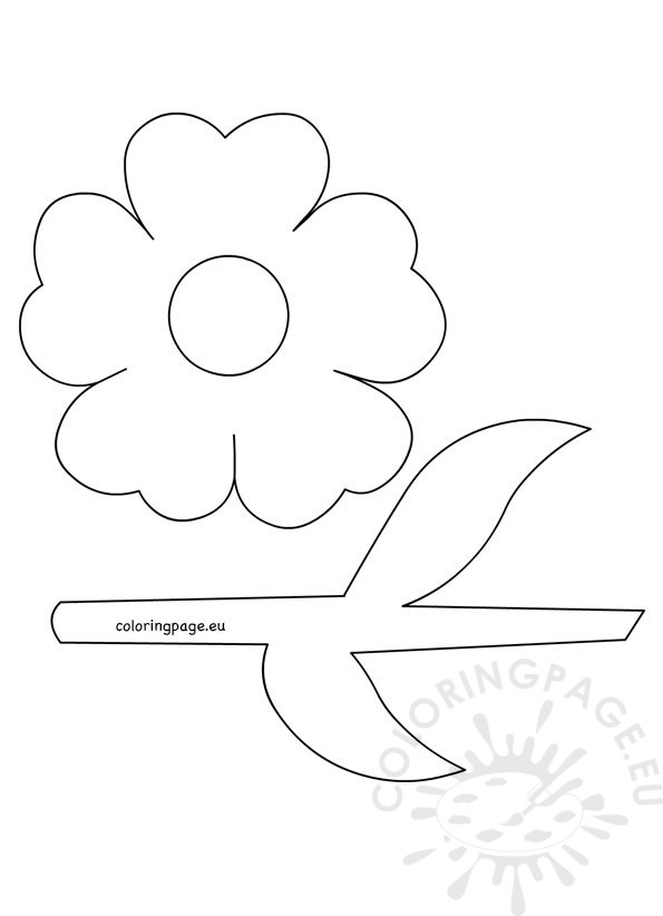 595x822 Flower With Stem And Leaves Template Coloring Page