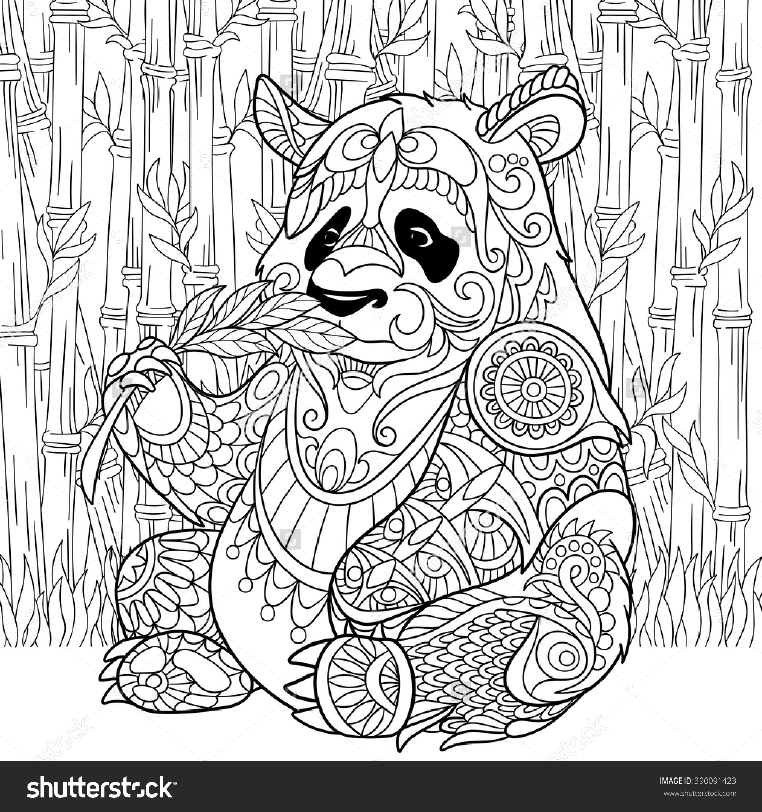 1500x1600 Fresh Zentangle Stylized Cartoon Panda Sitting Among Bamboo Stems