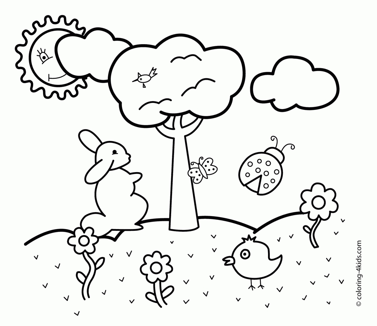 1280x1106 Excellent Spring Coloring Pages For Preschoolers Collections