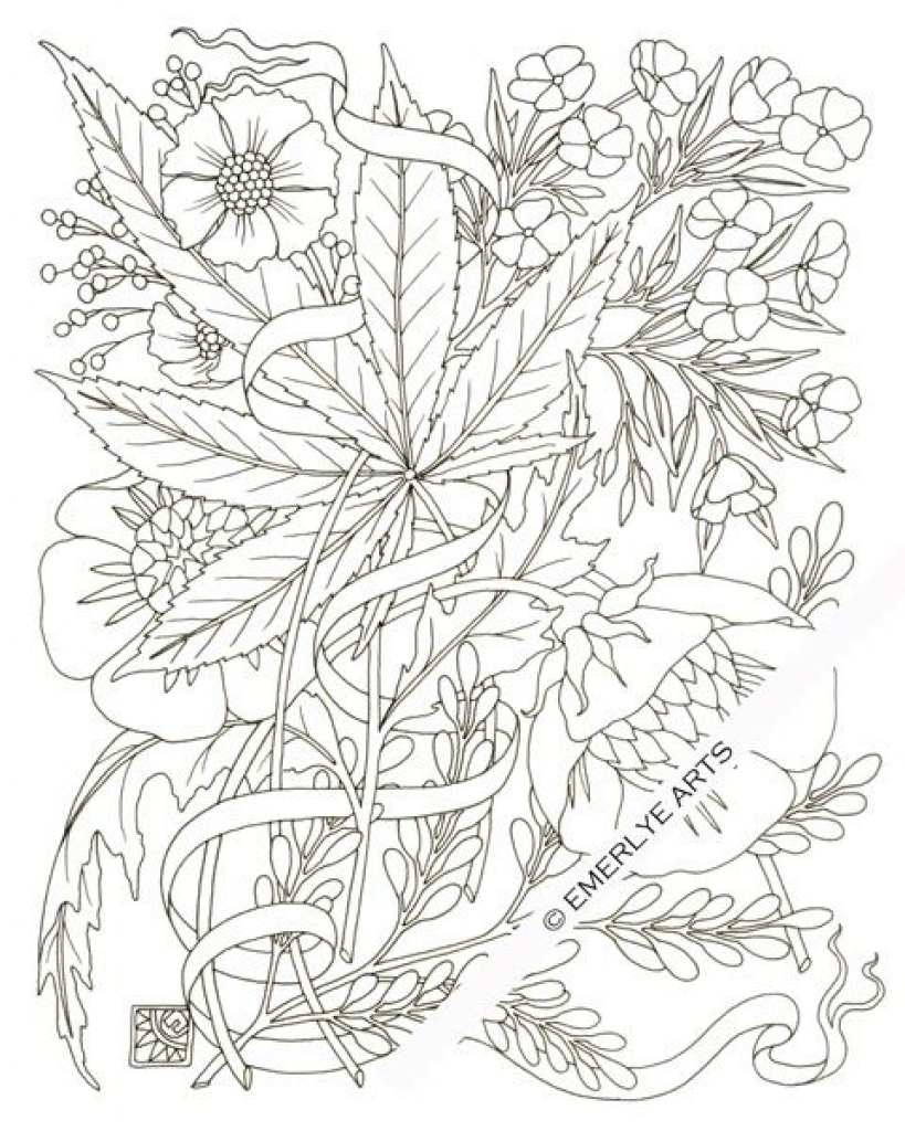 819x1024 Weed Leaf Stencil With Marijuana Coloring Pages Creativemove Nice