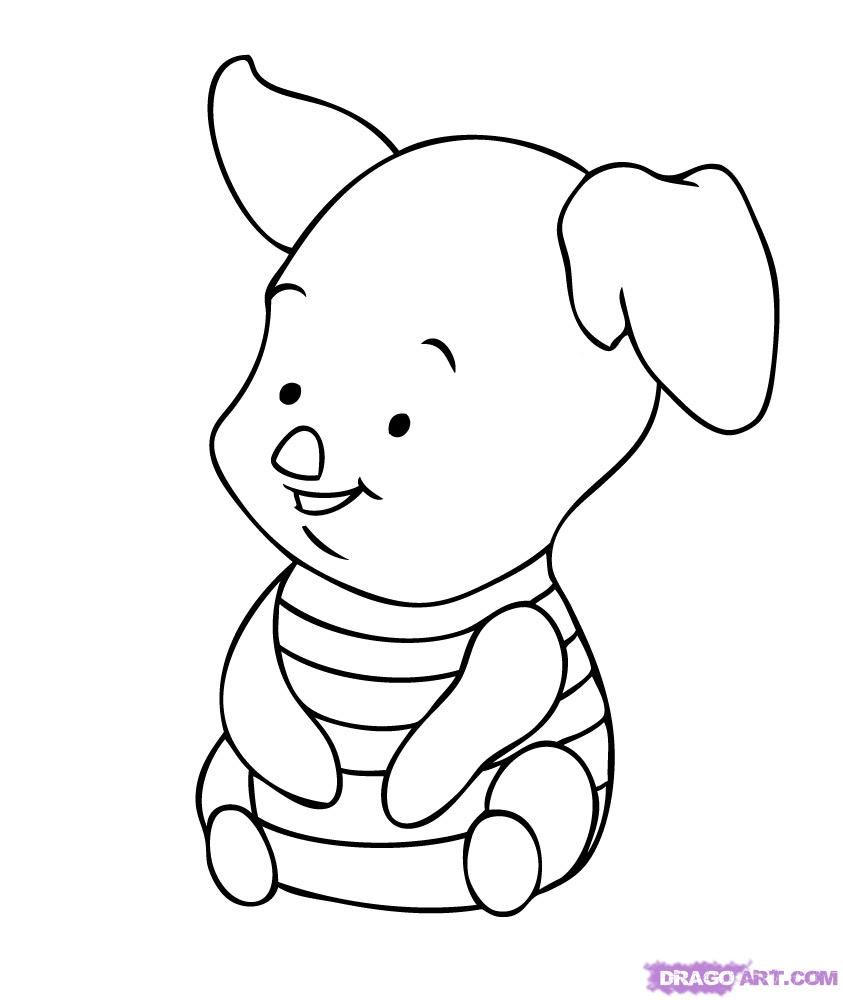 843x1000 Cartoon Character Coloring Pages Baby Tigger How To Draw Piglet