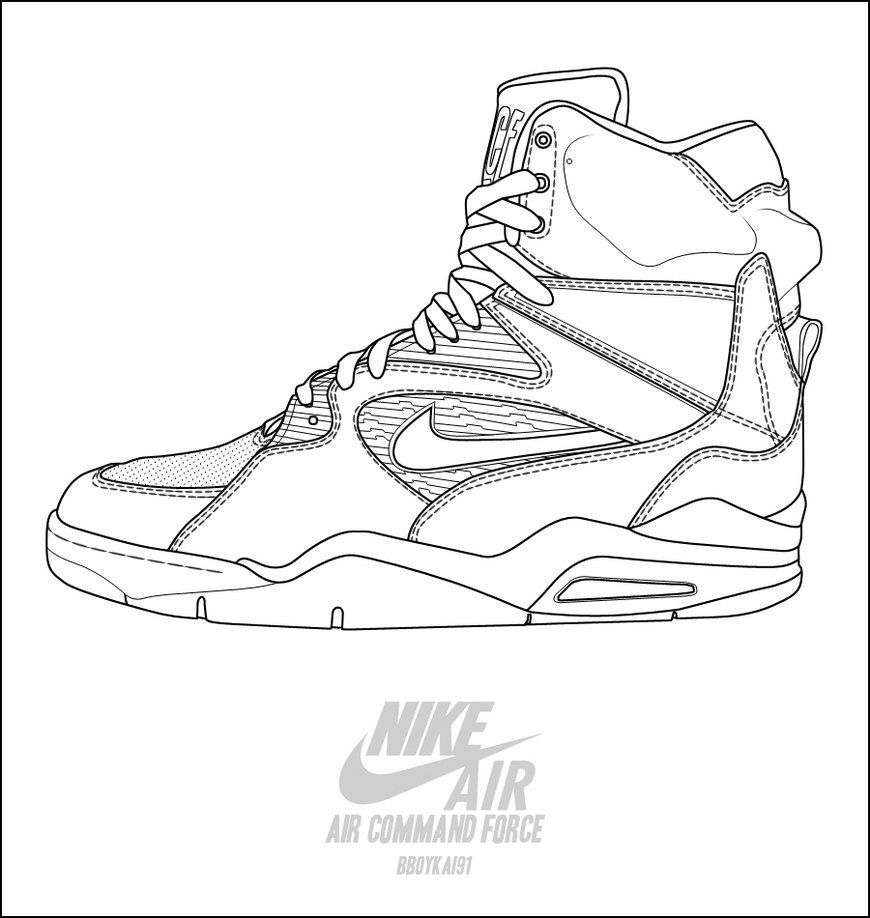 870x918 Nike Air Command Force Basketball Shoes Coloring Pages