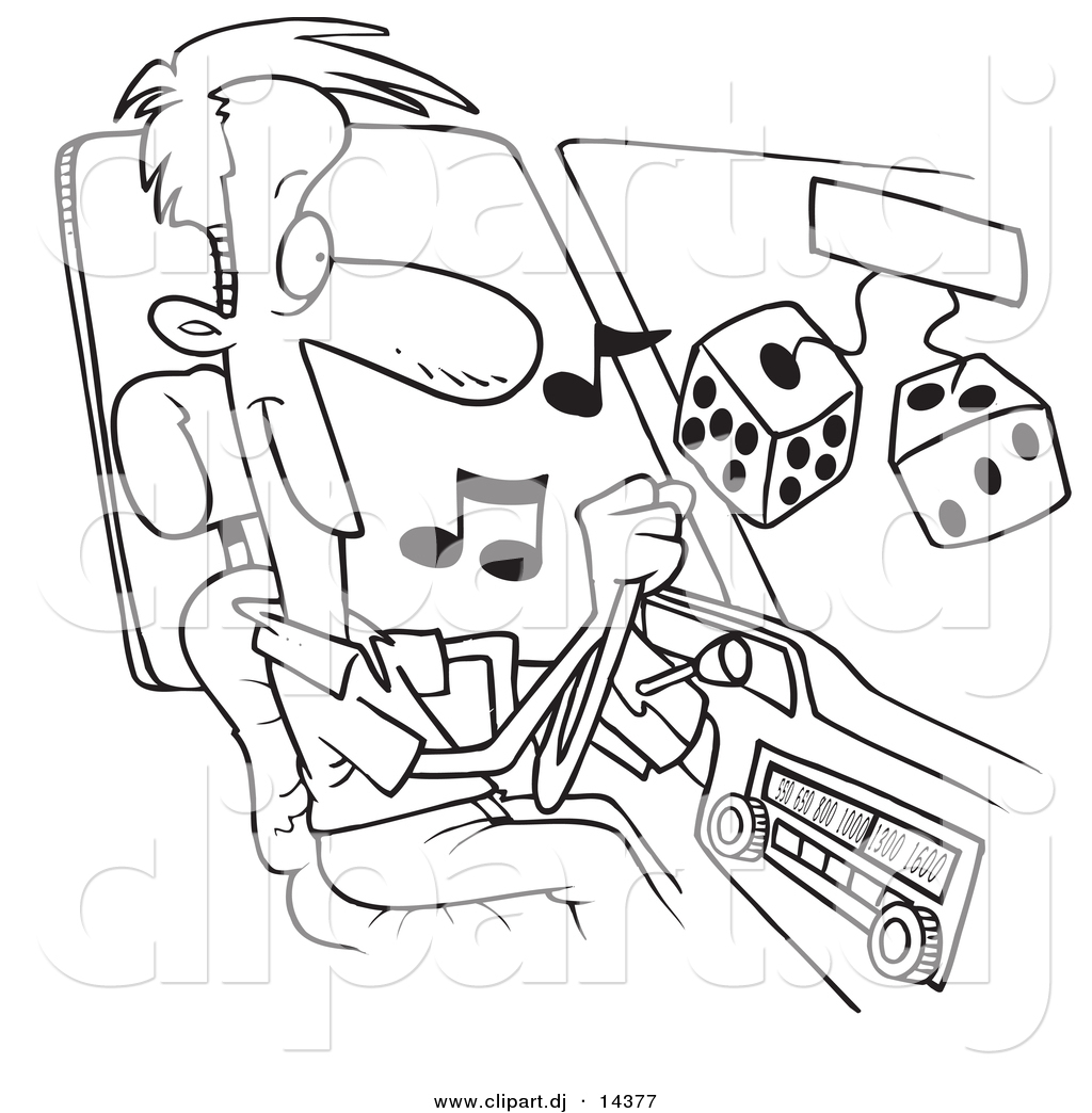 1024x1044 Vector Of Cartoon Man Listing To Tunes In His Car
