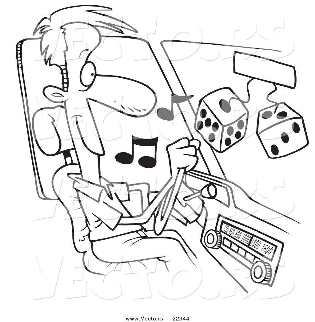 1024x1044 Vector Of A Cartoon Man Listing To Tunes In His Car