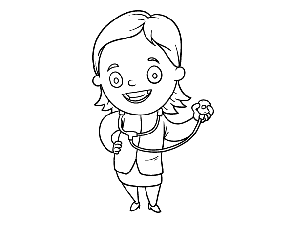600x470 Female Doctor With Stethoscope Coloring Page