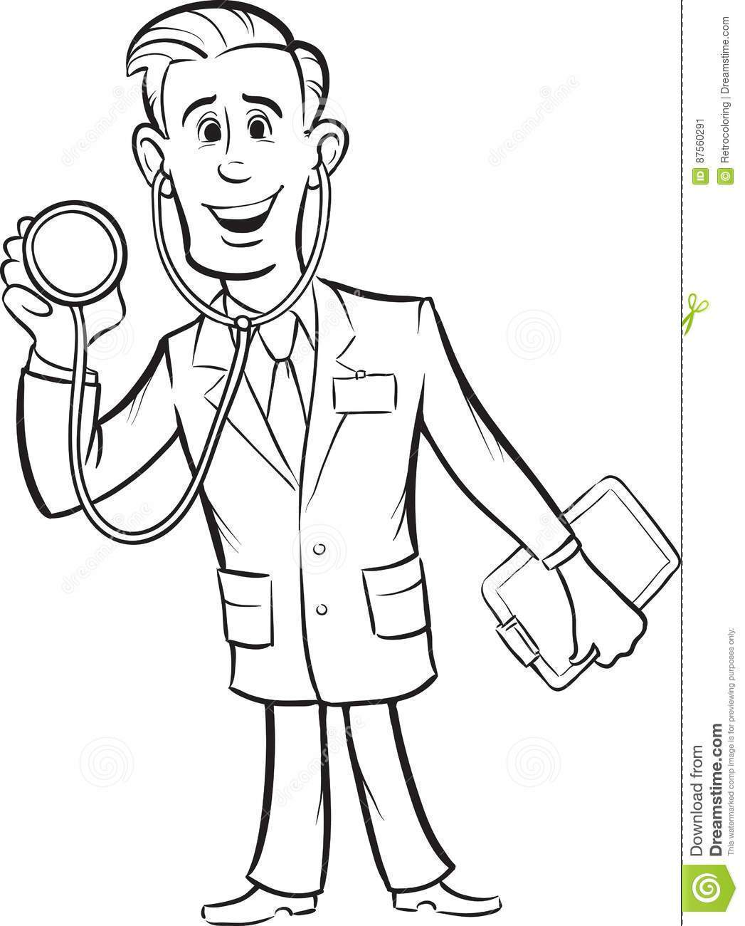 1047x1300 Marvelous Whiteboard Drawing Cartoon Funny Doctor With Stethoscope