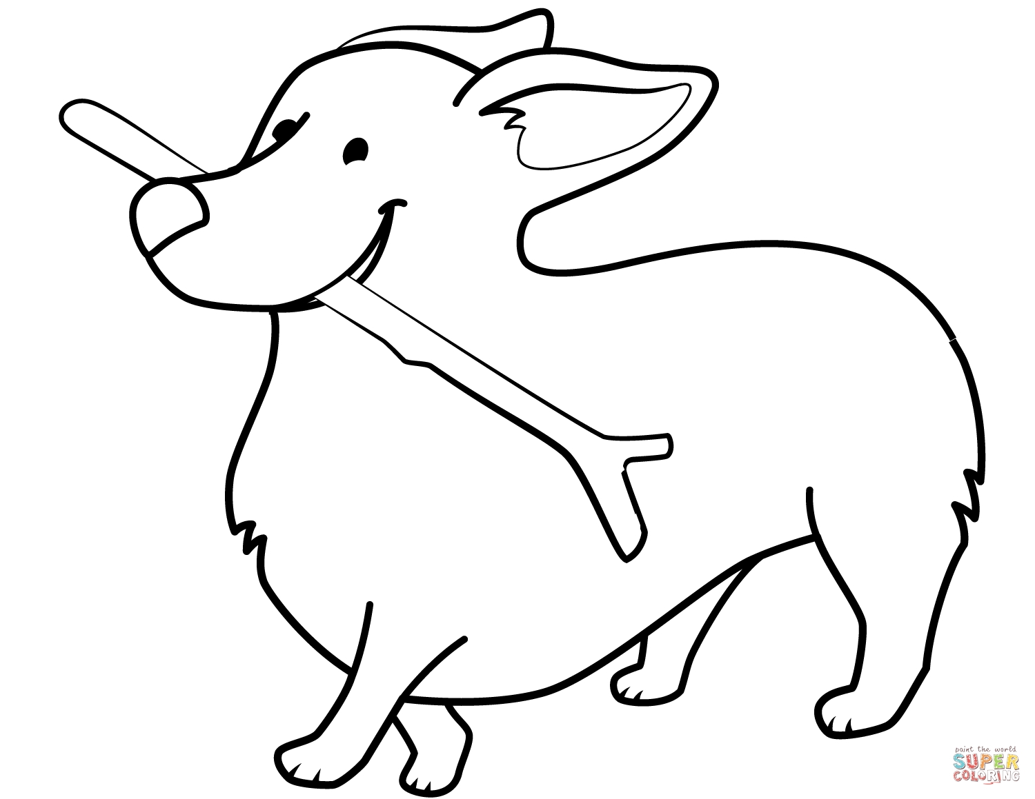 1500x1159 Funny Corgi Holding Stick Coloring Pages Download Coloring