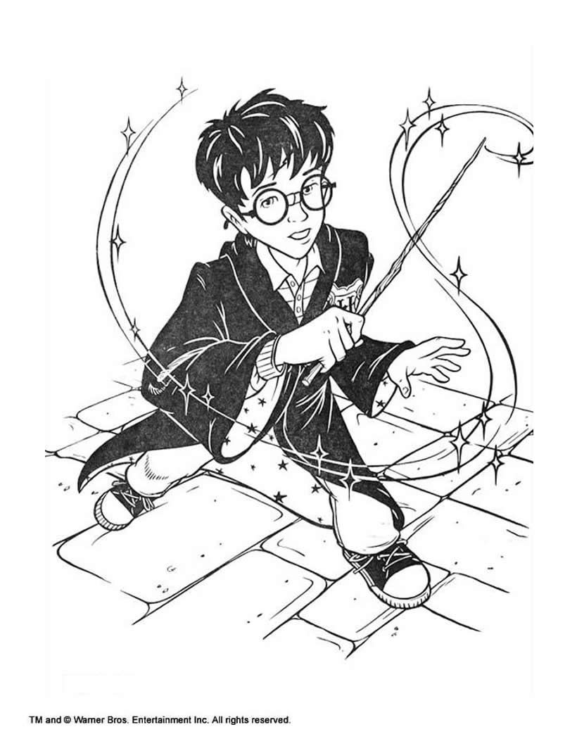 820x1060 Harry Potter With Magic Stick Coloring Pages