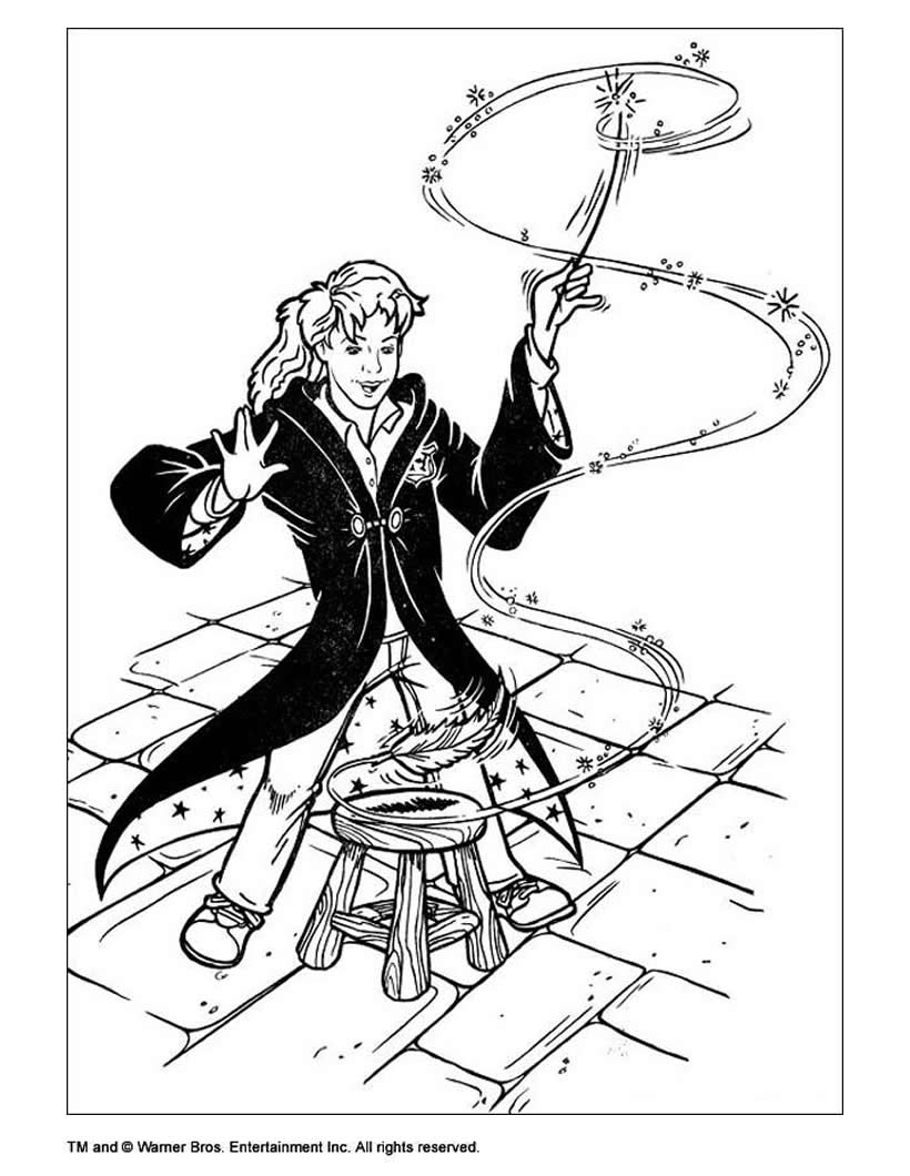 820x1060 Hermione With Magic Stick Coloring Pages