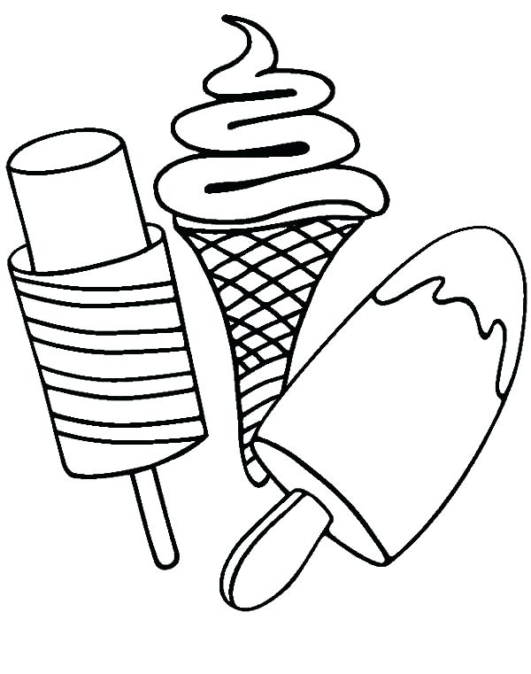 600x761 Ice Cream Coloring Page Various Type Of Ice Cream On Stick