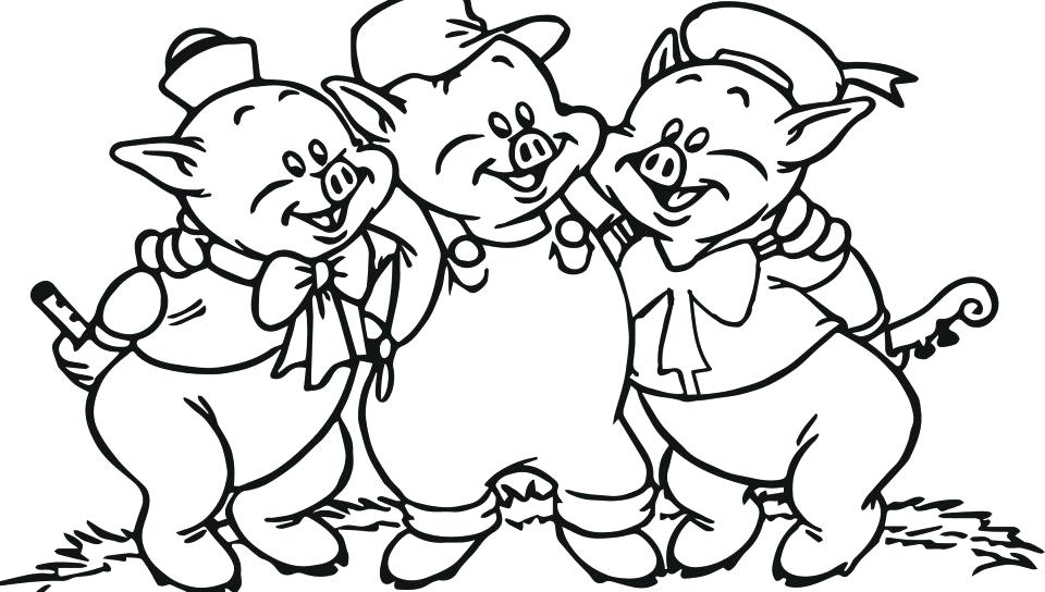 960x544 Best Cartoon Little Pigs Coloring Page Printable Free Cartoons