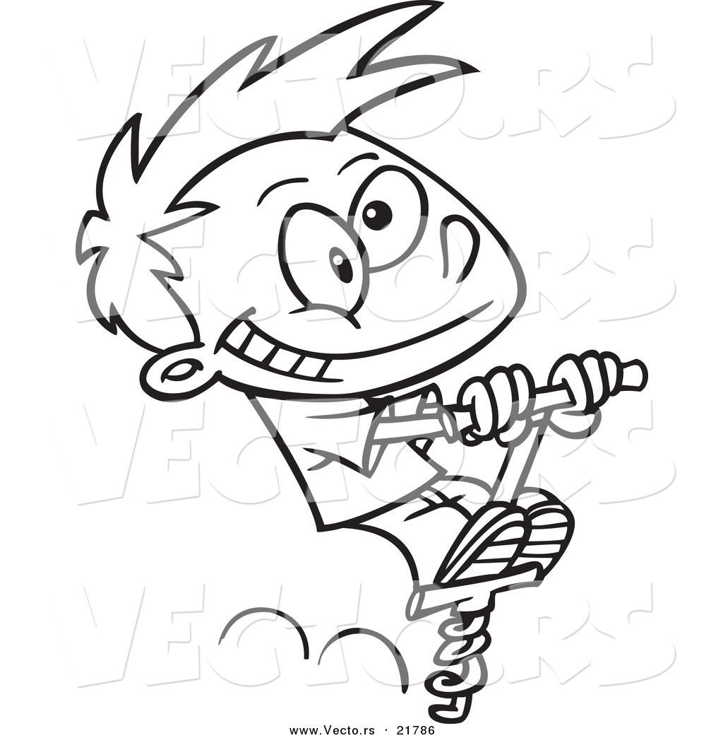 1024x1044 Vector Of A Cartoon Boy Using A Pogo Stick