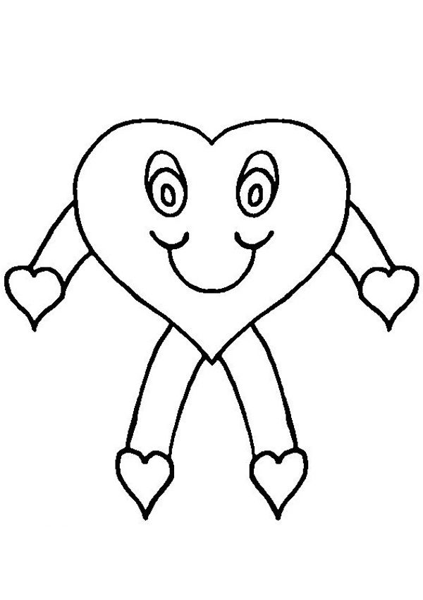 600x850 Free Online Heart Stick Figure Colouring Page
