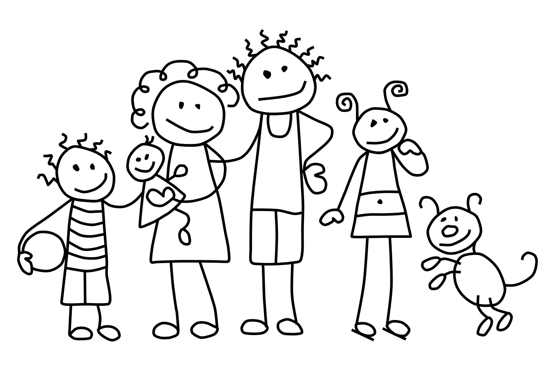 1800x1200 Stick Figure Family Clip Art