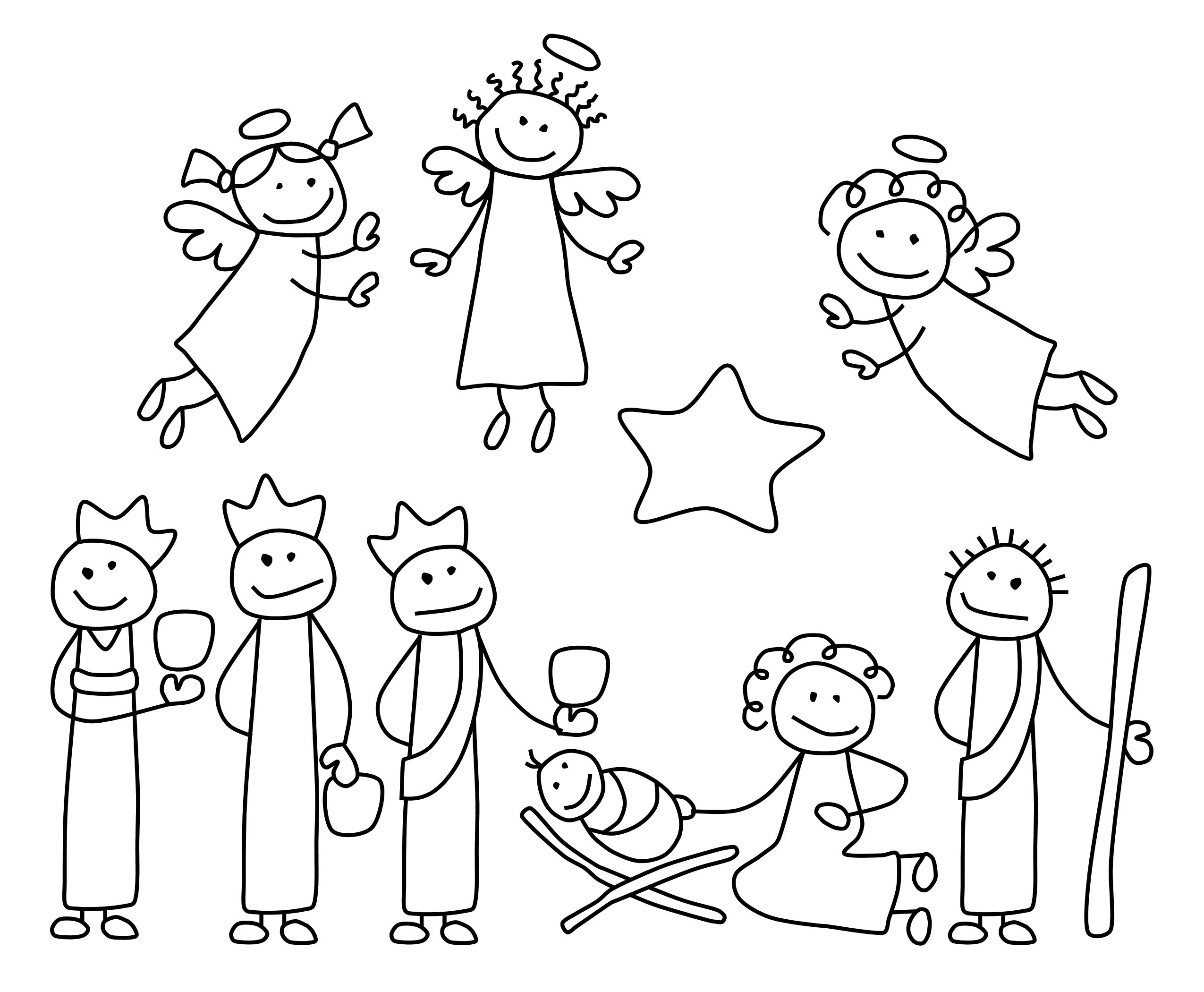 2550x2100 Stick Figure Family Coloring Page