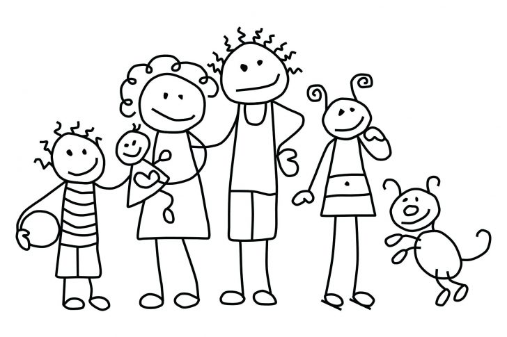 728x485 Family Coloring Page My Pages Pig Members Stick Figure Clip Art