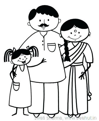 336x409 Happy Stick Figures Family Coloring Page Mother Daughter Printable