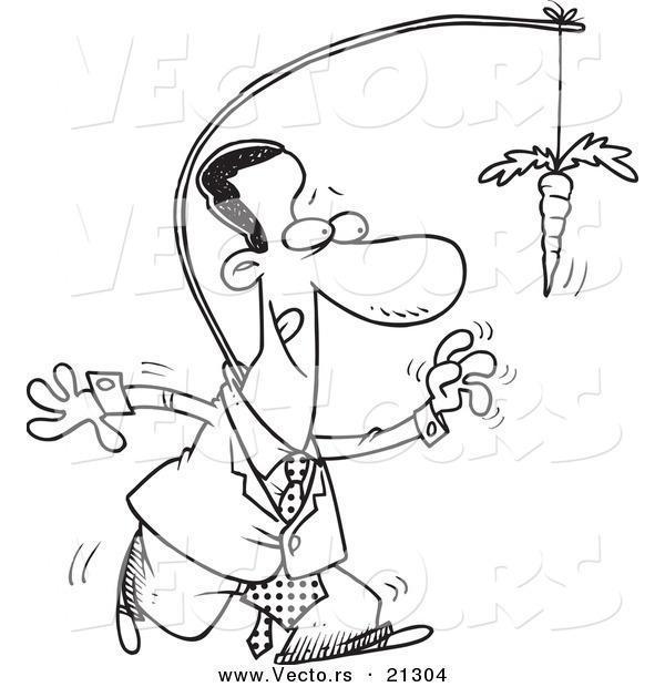 600x620 Vector Of Cartoon Black Businessman Chasingfter Carrot