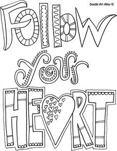 236x305 Quote Coloring Page Follow Your Heart Stickers