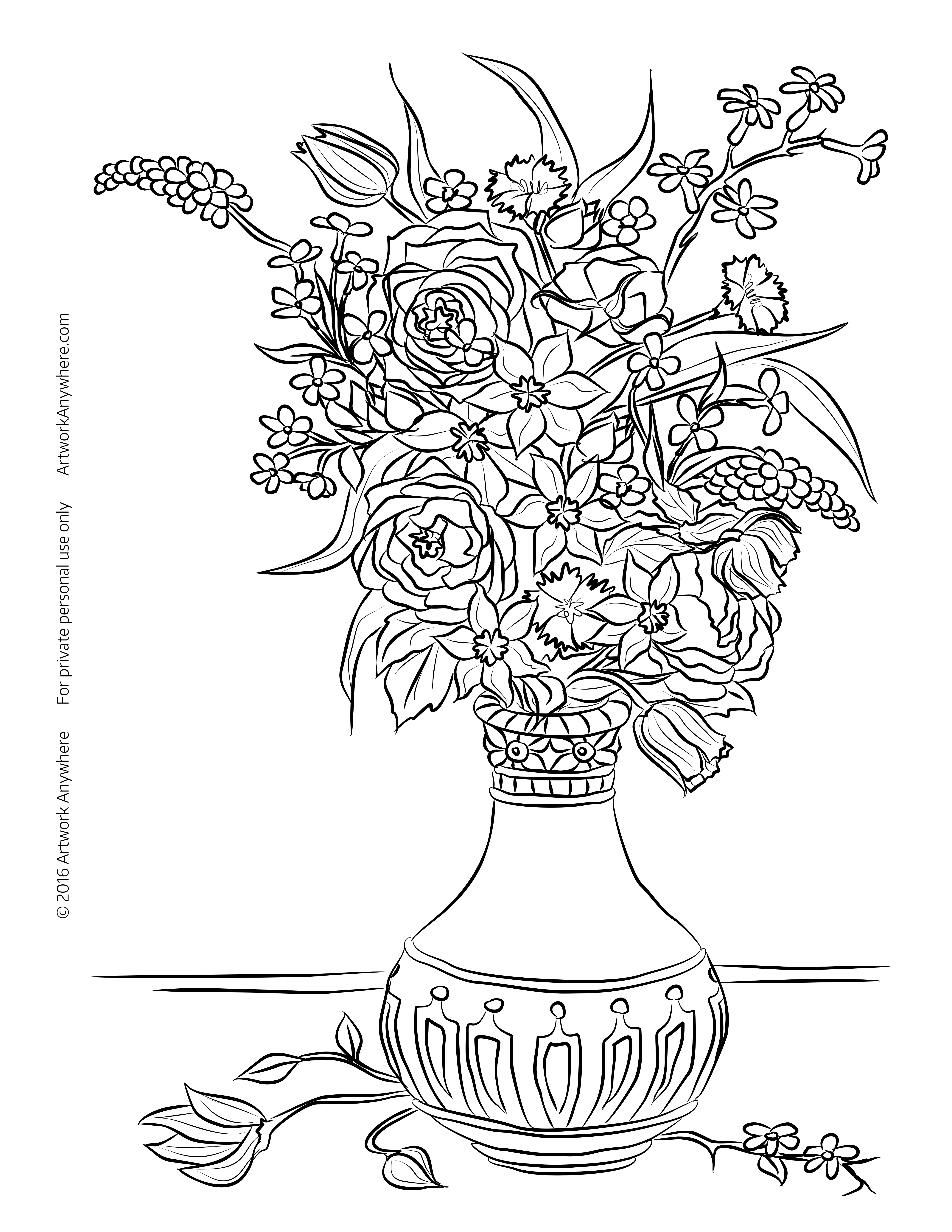 5100x6600 In Vase Click Here For Still Life Flowers In Vase Coloring Page
