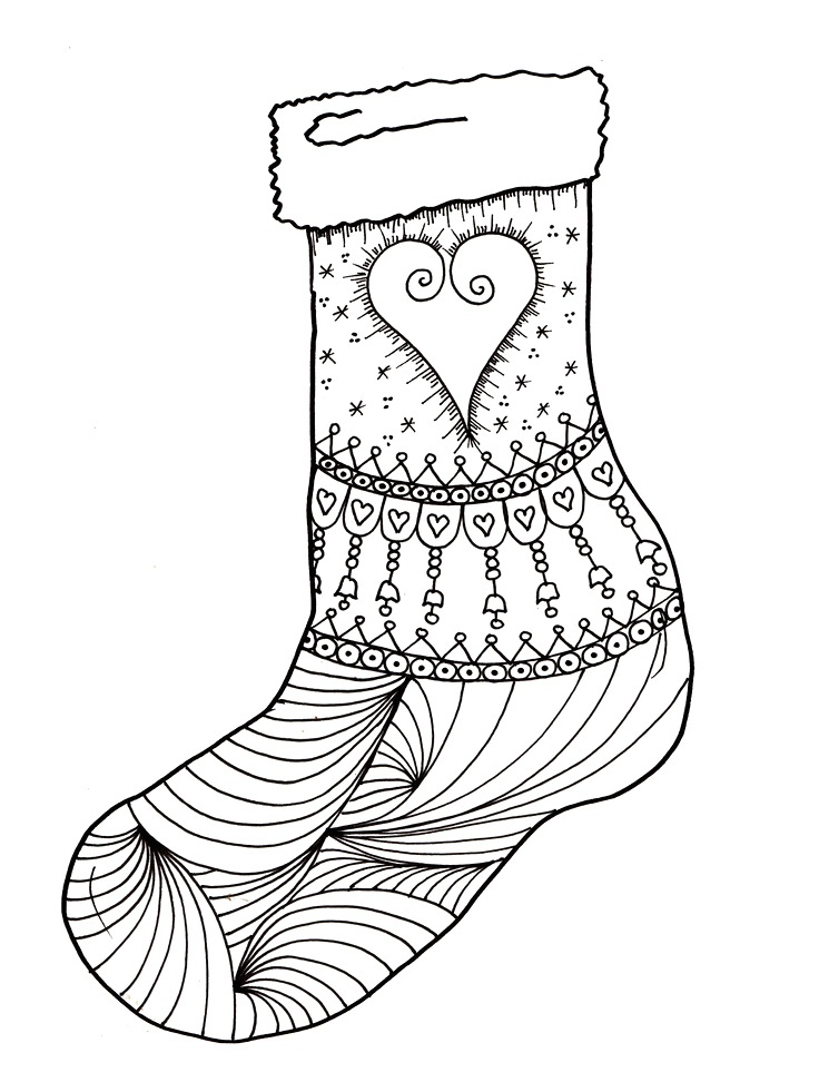 Stocking Coloring Page At Getdrawings Com