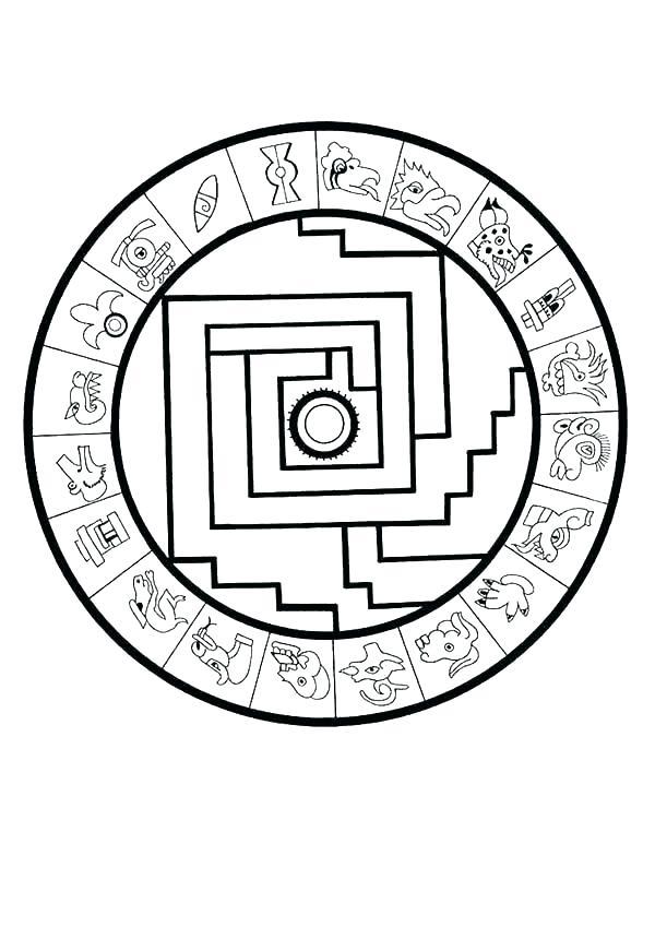600x849 Aztec Calendar Coloring Page Calendar Coloring Page Coloring Pages