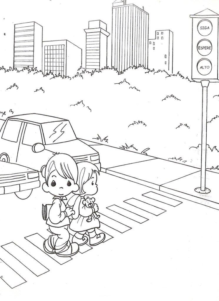 744x1024 Child Coloring Drawing Precious Moments With Traffic Light