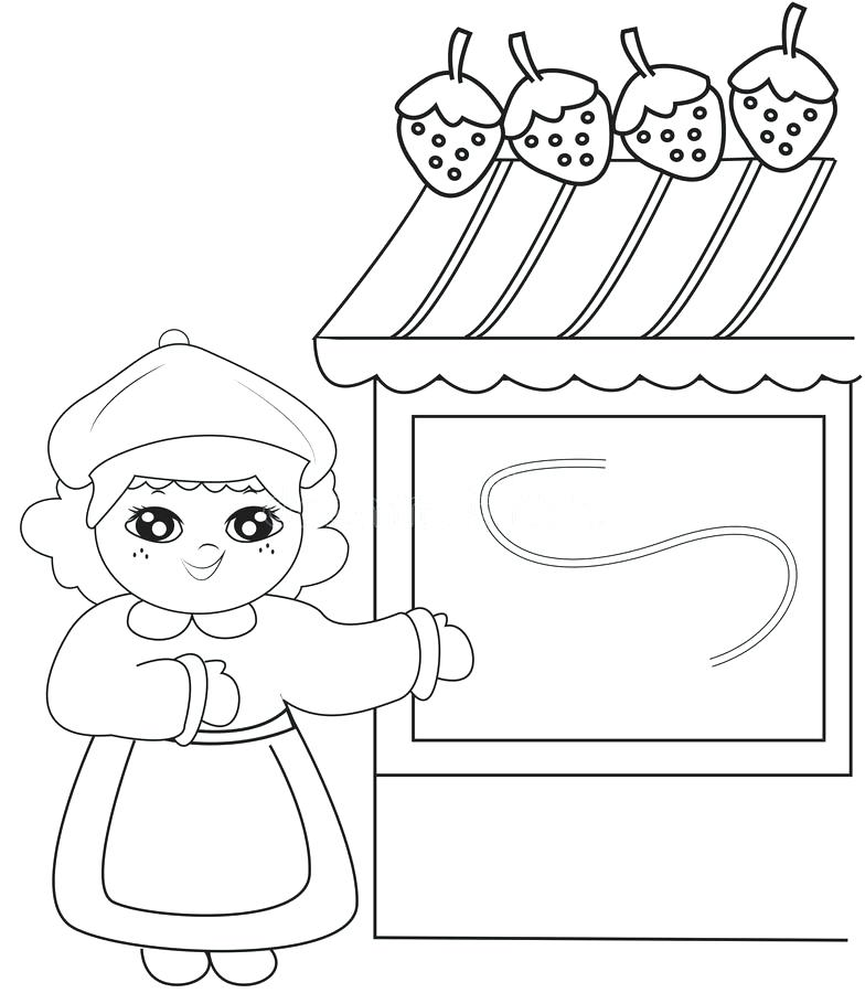 784x900 Store Coloring Page Download Girl Beside A Strawberry Store