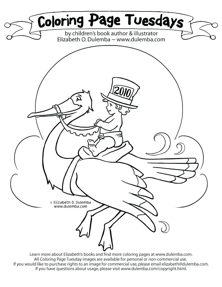 773x1000 New Years Coloring Sheets Stork Coloring Pages Coloring Page New