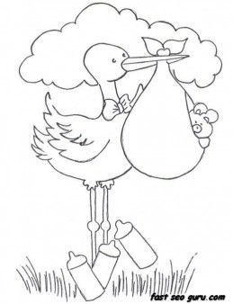 259x338 Printable Baby Boy In A Stork Bundle Coloring Pages For Childrens