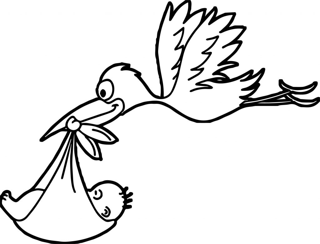 1024x783 Stork Flying Baby Coloring Page Wecoloringpage