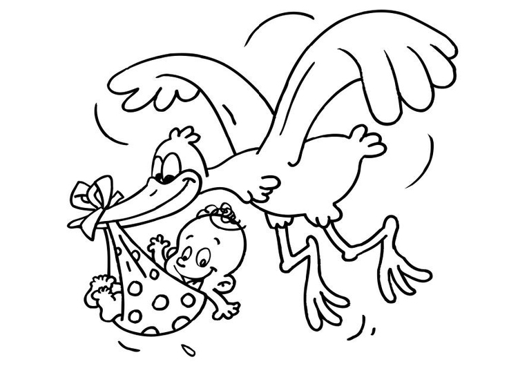 750x530 Coloring Page Stork And Baby