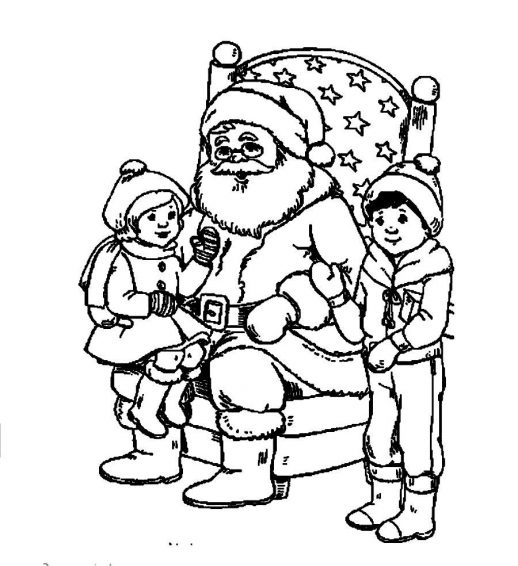 518x566 Santa Claus Telling A Christmas Story To The Kids Coloring Pages