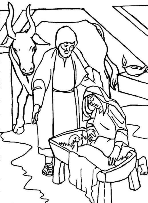 518x711 A Bible Story About The Birth Of Jesus Christmas Coloring Pages