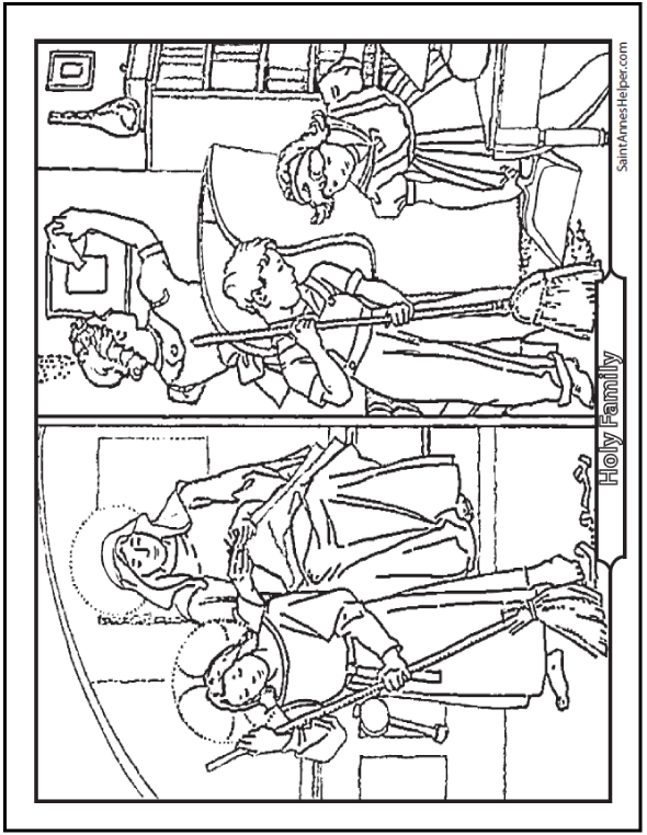 590x762 Bible Coloring Pages For Kids Jesus Helps Mary